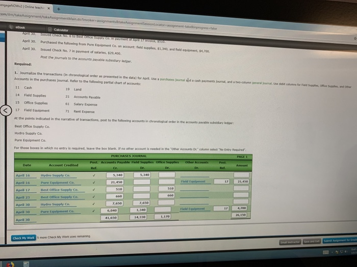 Solved: April 30  Purchased The Following From Pure Equipm