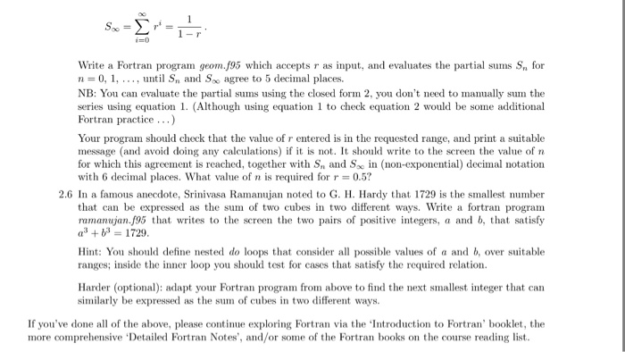 Solved: Write A Fortran Program Geom f95 Which Accepts R A