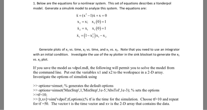 Solved: 1  Below Are The Equations For A Nonlinear System