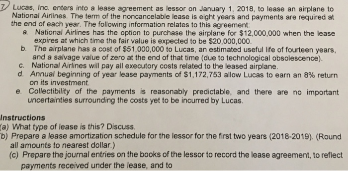 Solved Lucas Inc Enters Into A Lease Agreement As Lesso