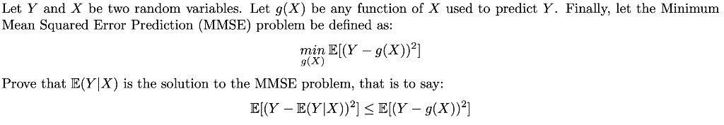 Solved: Let Y And X Be Two Random Variables  Let G(X) Be A