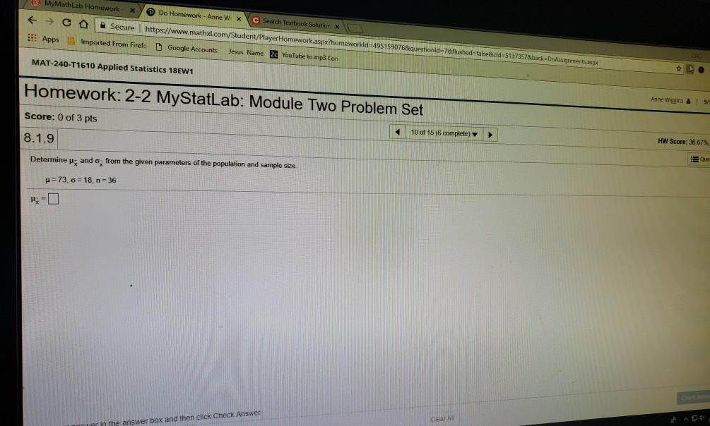 mymathlab statistics homework answers