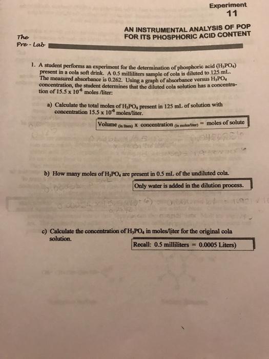 determining the phosphoric acid content in soft drinks lab report
