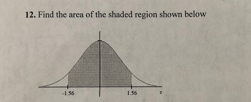 12. Find the area of the shaded region shown below 1.56 1.56