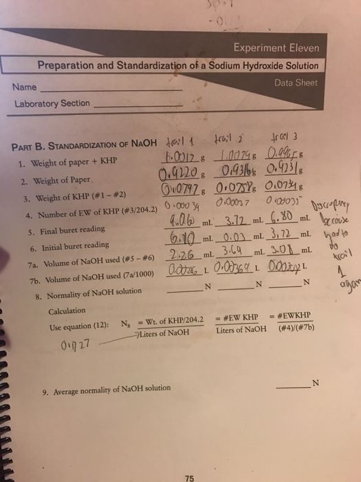 preparation and standardization of a sodium hydroxide solution