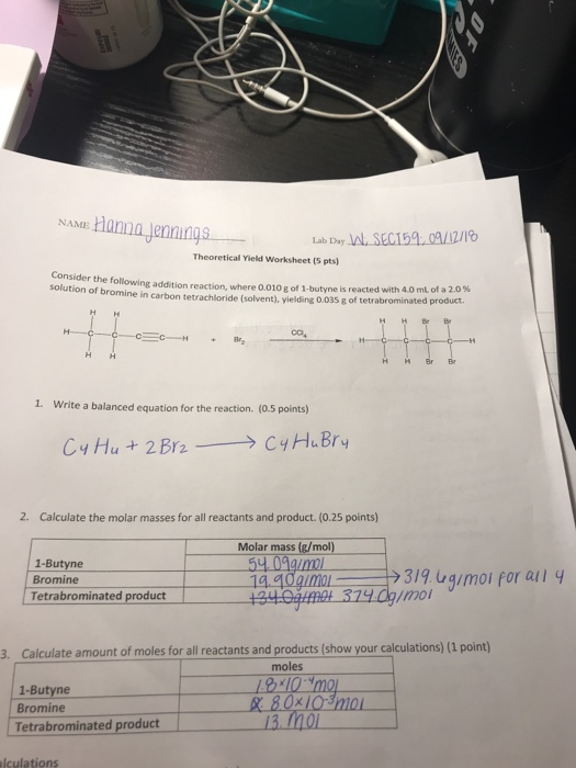 Solved: What Is The Theoretical Yield And Percent Yield ...
