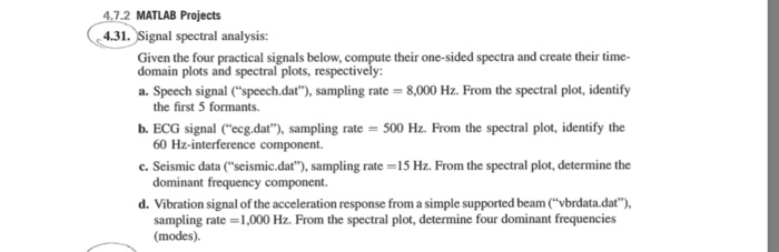 4 7 2 MATLAB Projects  31  Signal Spectral Analysi    | Chegg com