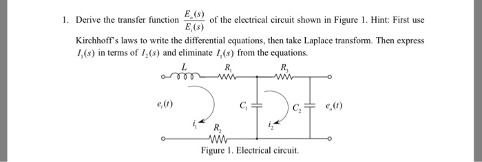 derive the transfer function of the electrical circuit electricalsolved derive the transfer function e_o (s) e_i (s) of thderive the