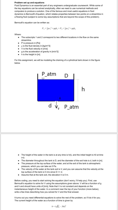 Problem Set Up And Equations Fluid Dynamics Is An     | Chegg com