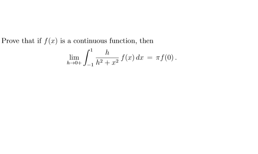 Prove that if f(x) is a continuous function, then lim h→0+