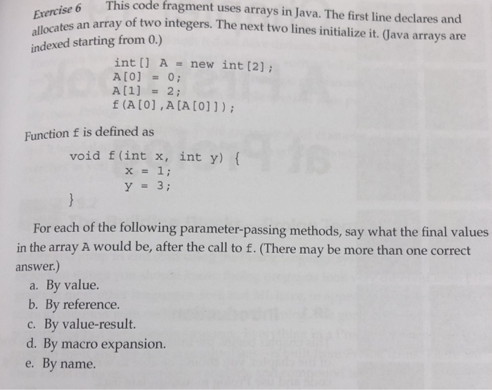 Solved: This Code Fragment Uses Arrays In Java  The First