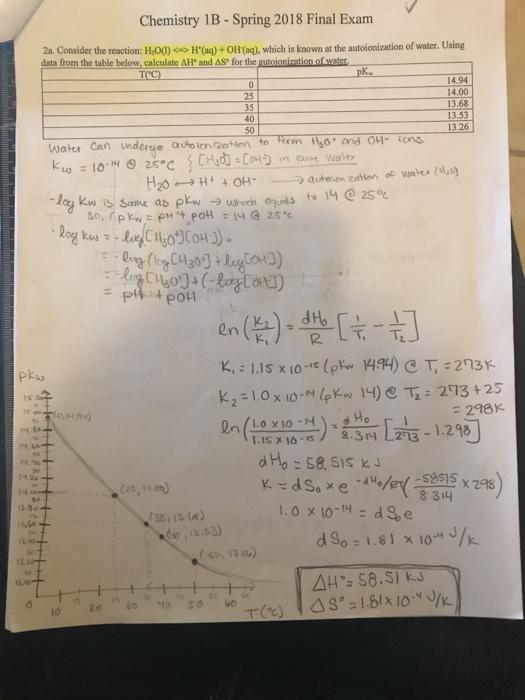 Chemistry 1B- Spring 2018 Final Exam 2a  Consider