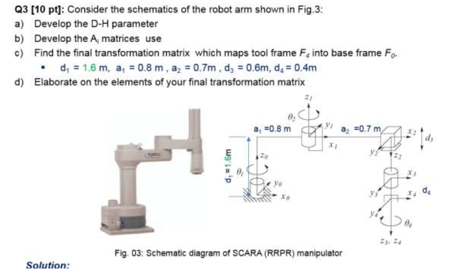 Solved: Q3 [10 Pt]: Consider The Schematics Of The Robot A ...
