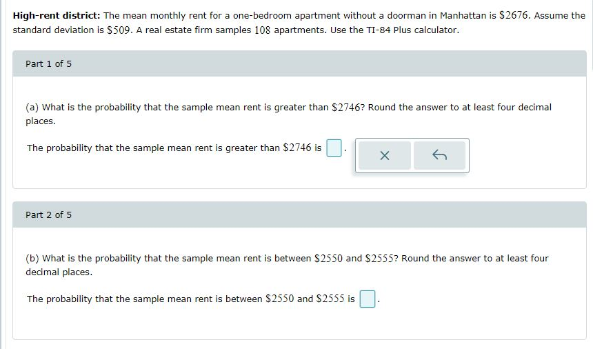 Solved High Rent District The Mean Monthly Rent For A On Chegg Com