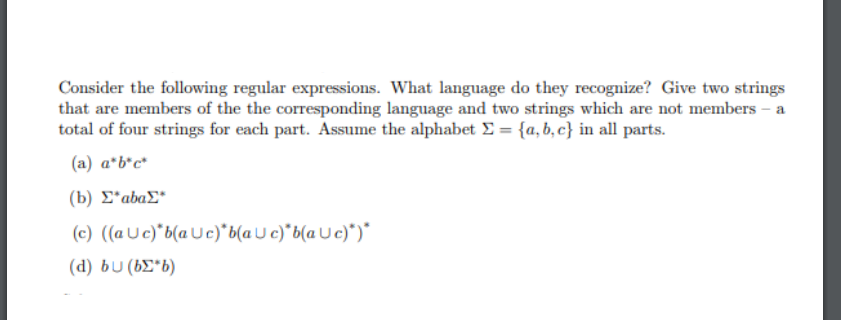 Solved: Consider The Following Regular Expressions  What L