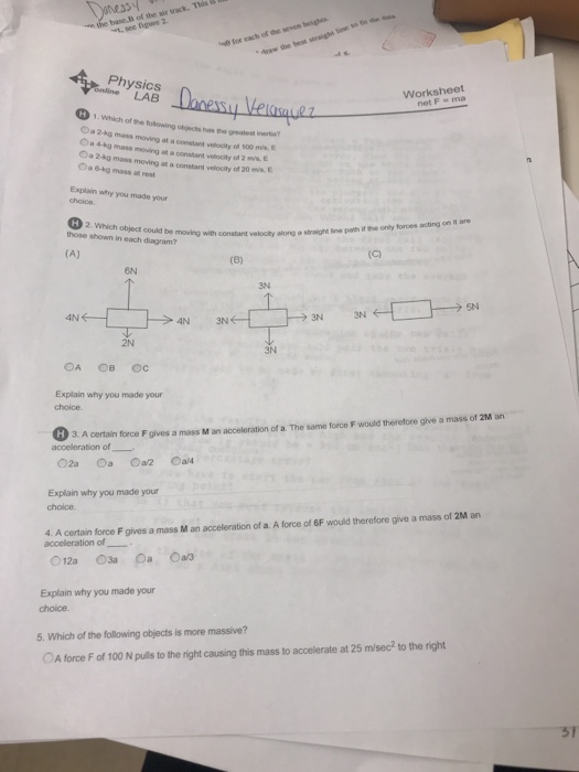 Solved: Of The Physics Online LAB Worksheet Net F Ma H1.Wh ...
