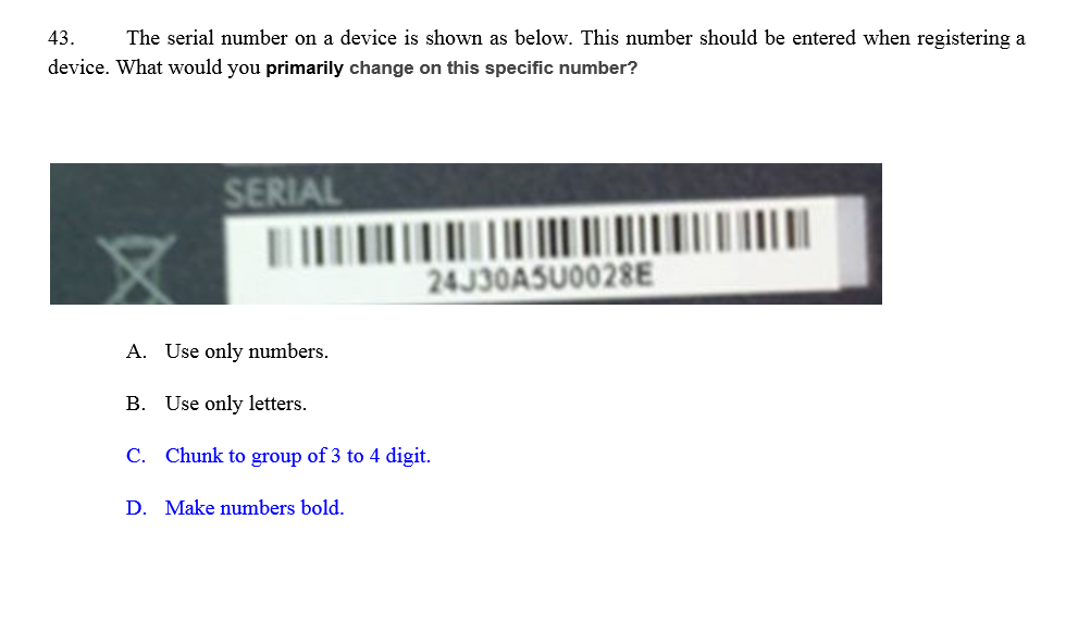 Solved: 43 The Serial Number On A Device Is Shown As Below