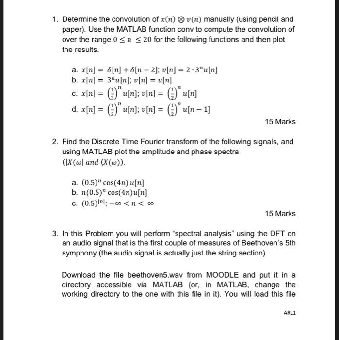 Solved: 1  Determine The Convolution Of X(n) O V(n) Manual