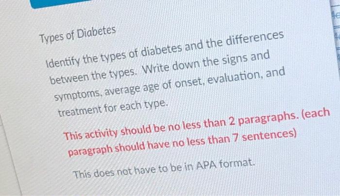 paragraph about diabetes