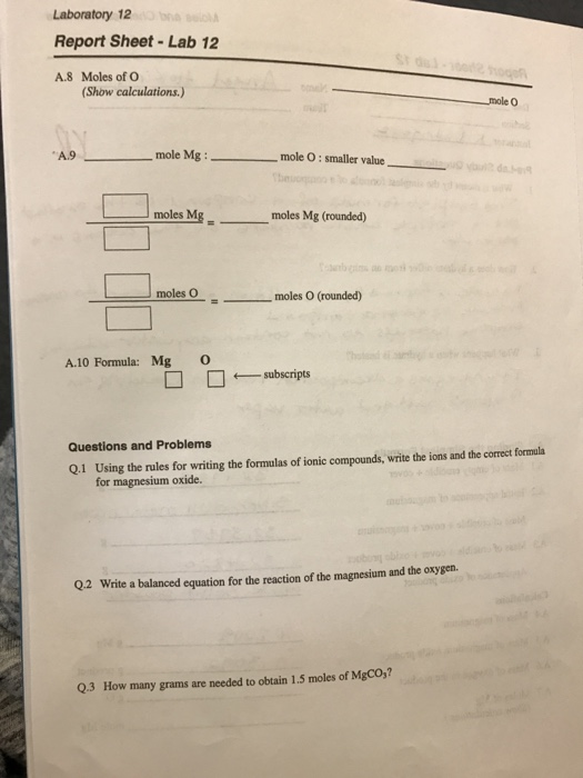 moles and chemical formulas lab answers