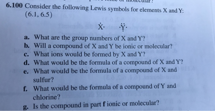 Solved 6100 Consider The Following Lewis Symbols For Ele