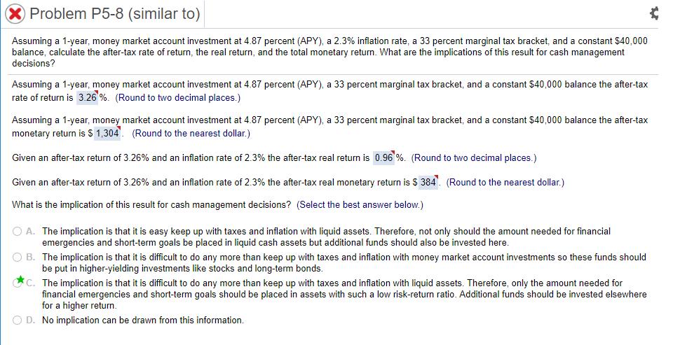 Problem P5-8 (similar To) Assuming A 1-year Money