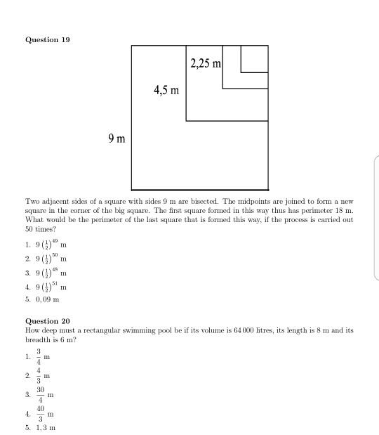 Solved question 19 2 25 m two adjacent sides of a square - Volume of a swimming pool formula ...