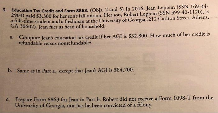 solved: ucation tax credit and form 8863. (objs. 2 and 5