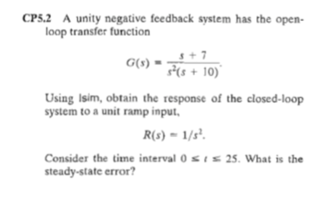 Solved: CP5 2 A Unity Negative Feedback System Has The Ope
