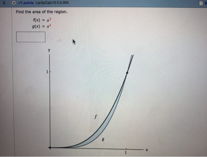 2.。-11 points LarApCalc10 5.5.004 Find the area of the region. /(x) = x3 g(x)-x