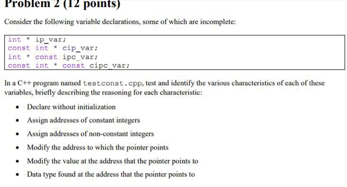 Solved: Problem 2 (12 Points) Consider The Following Varia
