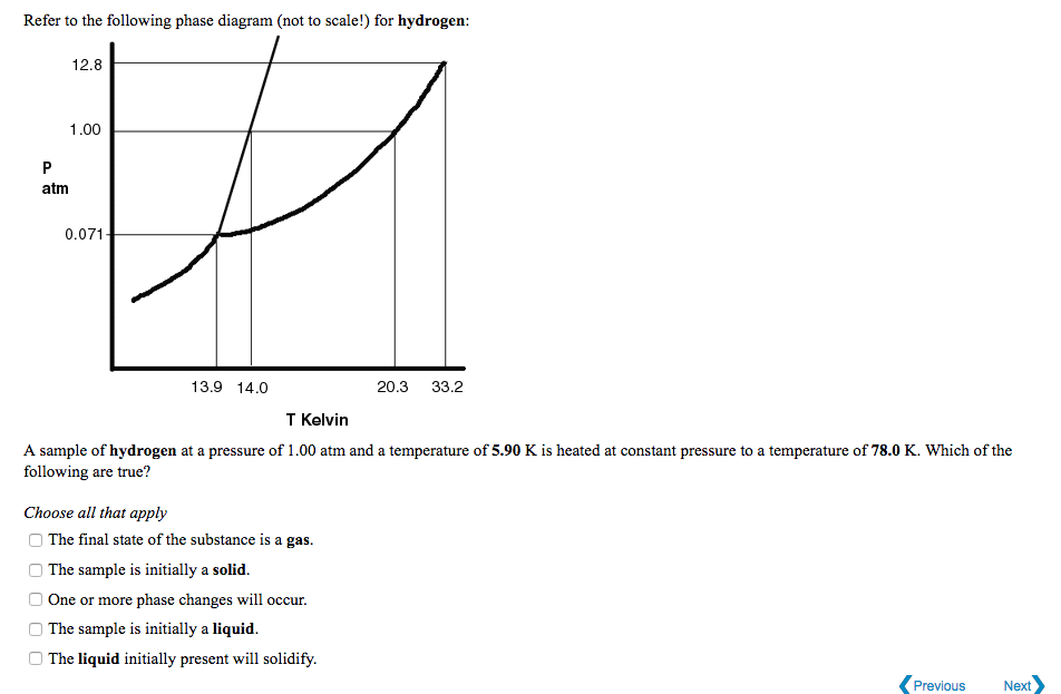 for argon: 48 refer to the following phase diagram (not to scale!) for  hydrogen: 12 8