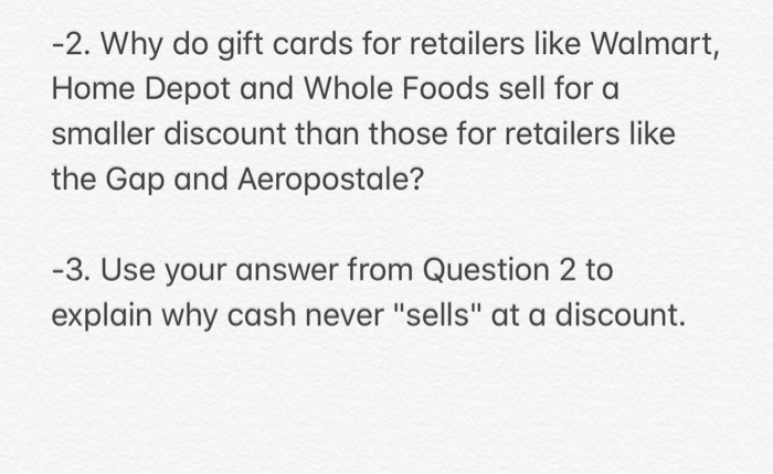 Peachy Solved 2 Why Do Gift Cards For Retailers Like Walmart H Download Free Architecture Designs Grimeyleaguecom