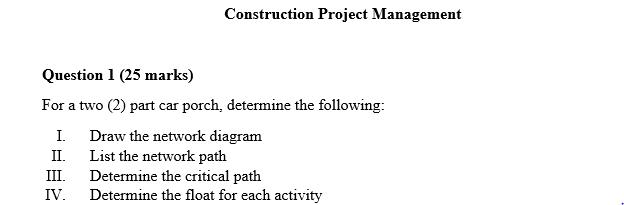 Construction Project Management Question 1 25 Mar Chegg Com