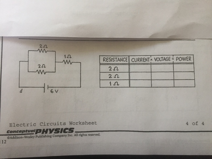 Solved 1 Resistance Current Voltage Power 2 2 2 Elect