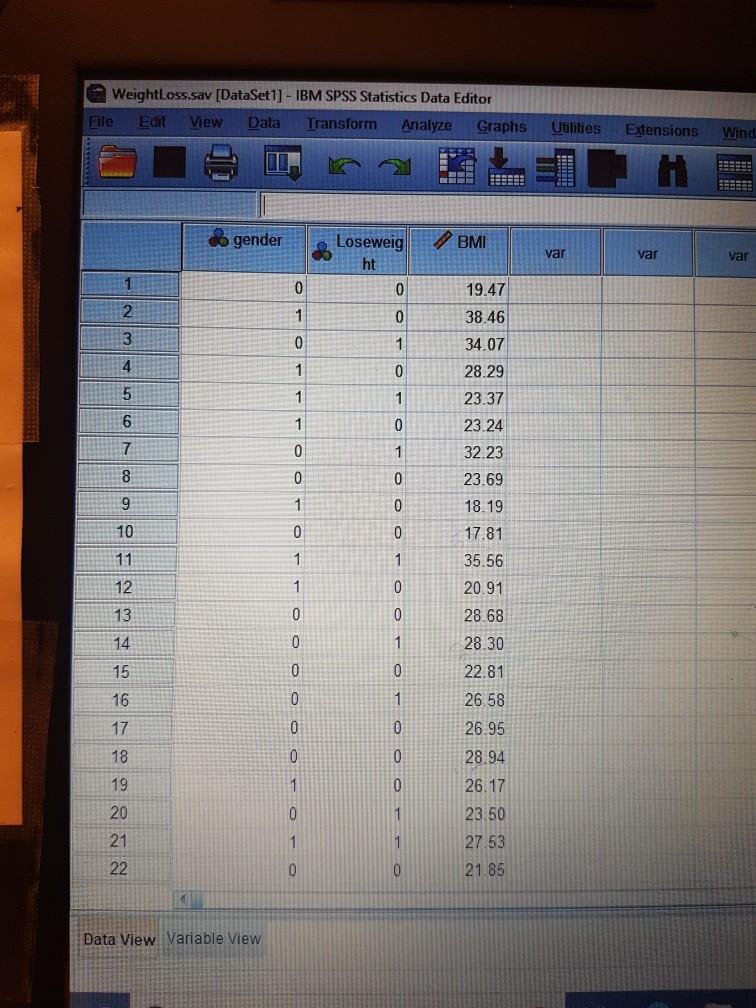 WeightLoss sav [DataSet1] - IBM SPSS Statistics Da