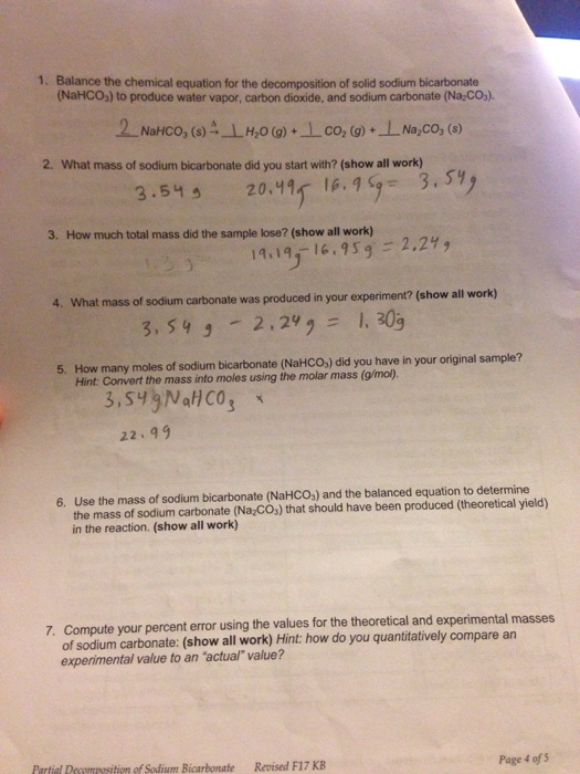 Solved  1  Balance The Chemical Equation For The Decomposi