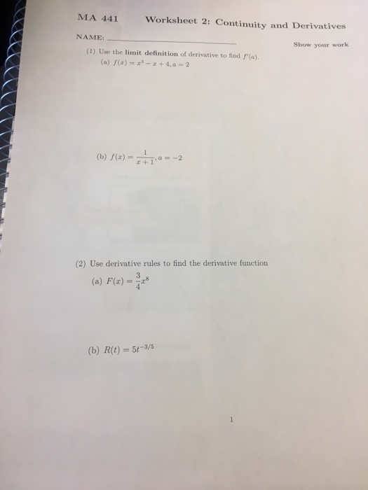 Solved: Use The Limit Definition Of Derivative To Find F ...
