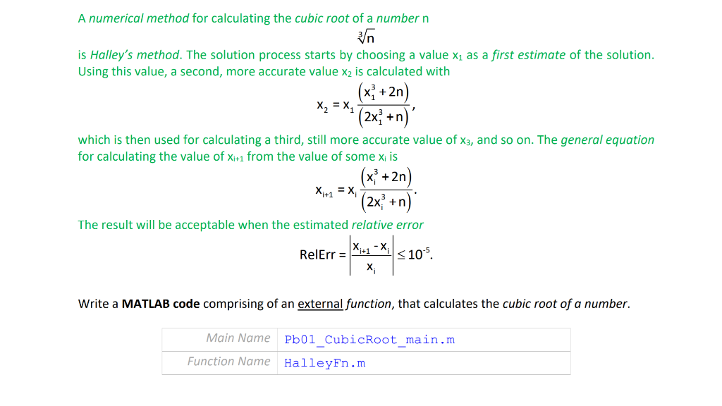 A Numerical Method For Calculating The Cubic Root     | Chegg com