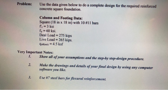 Solved: Use The Data Given Below To Do A Complete Design F