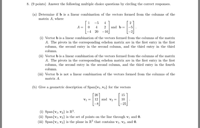 Solved: 8  (9 Points) Answer The Following Multiple Choice