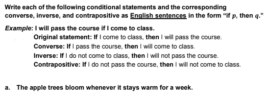 9b98bc2df4cb22 Write each of the following conditional statements and the corresponding  converse