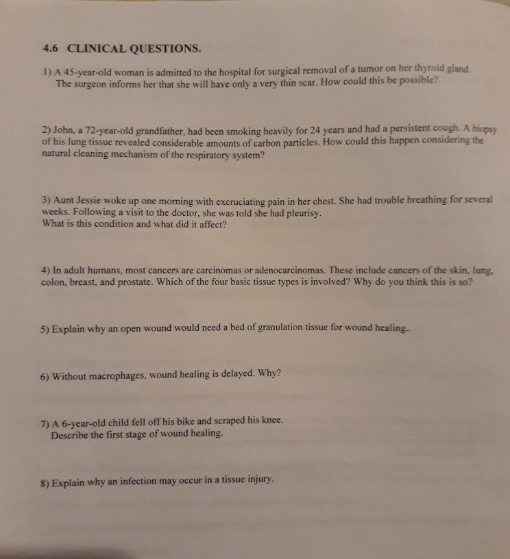 Solved: 4 6 CLINICAL QUESTIONS  Is Admitted To The Hospita