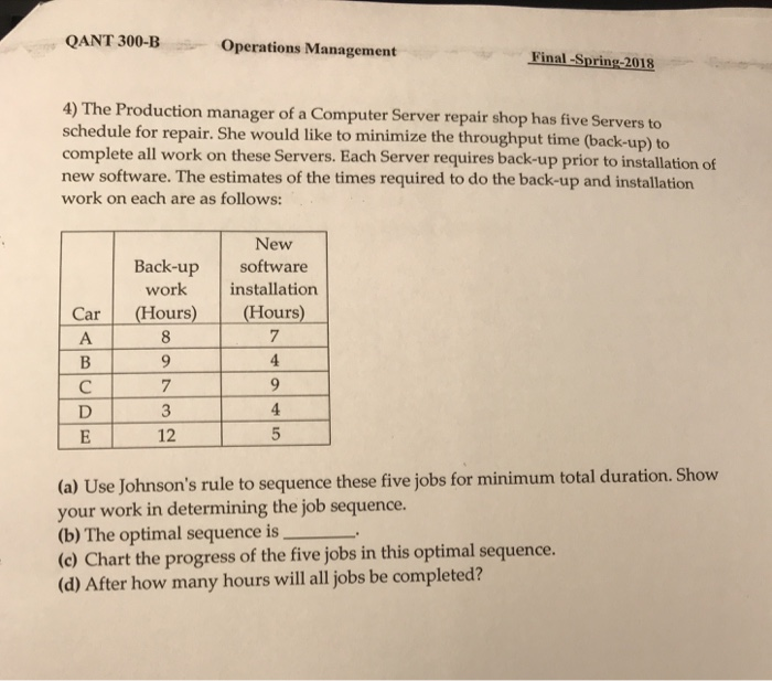 Solved: QANT 300-B Operations Management Final -Spring-201