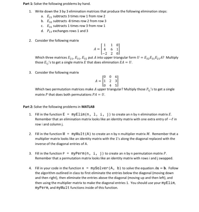 Solved: Part 1: Solve The Following Problems By Hand. 1. W