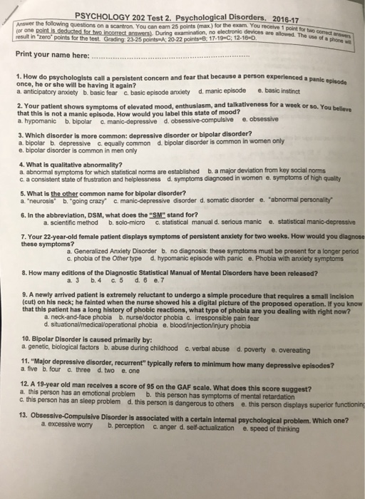 Solved: PSYCHOLOGY 202 Test 2  Psychological Disorders, 20