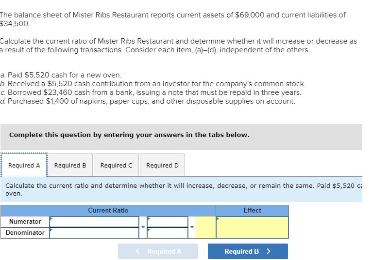 solved the balance sheet of mister ribs restaurant report
