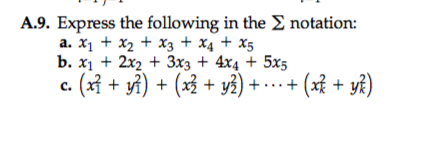Solved: A9  Express The Following In The Notation: B  Xi +
