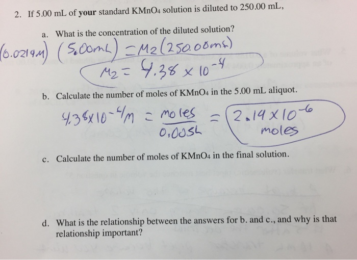 Solved: The Molarity Of My Standard KMnO4 Solution Is M= 0