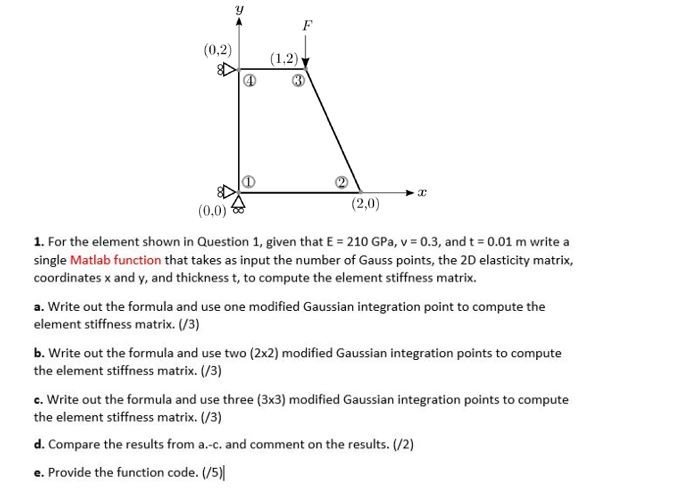 0 0) (2,0) 1  For The Element Shown In Question 1    | Chegg com